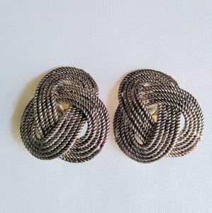 80s Interlock Braid Design Clip-on Earrings